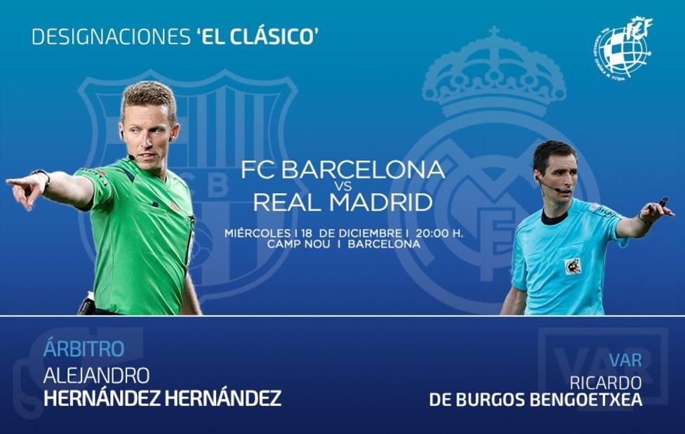 Hernández Hernández arbitrará el Clásico FC Barcelona-Real Madrid en el Camp Nou