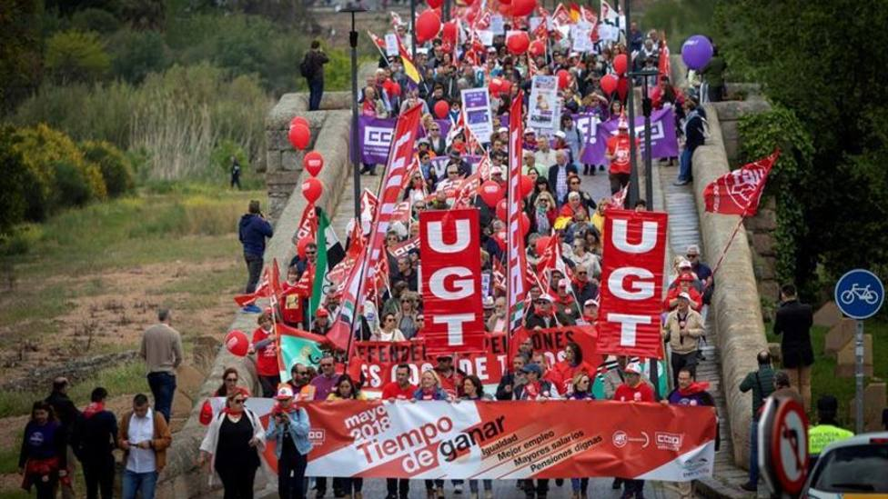 Movilizaciones del Primero de Mayo en Mérida. Foto: Jero Morales. EFE (Archivo)