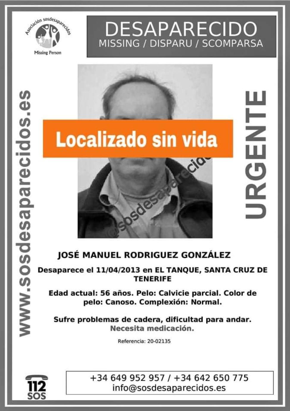 El desaparecido tenía 49 años y era vecino de El Tanque