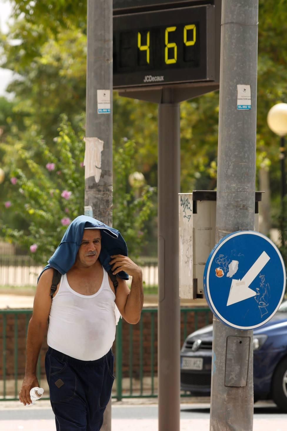 Murcia alcanza los 44,2 grados, la temperatura más alta de toda España registrada este lunes