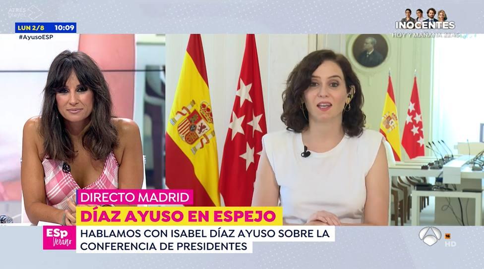 Ayuso corta en directo Espejo Público después de la pregunta de Lorena García: No estoy para eso