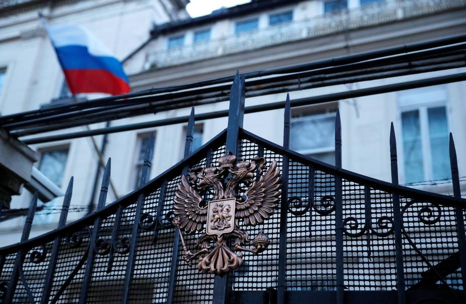 Fachada de la embajada de Rusia en el Reino Unido en el centro de Londres