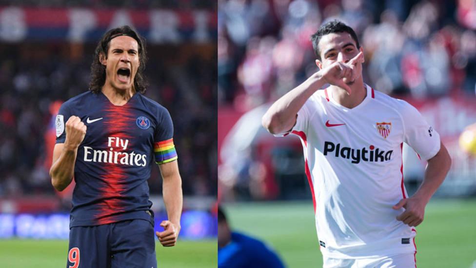 Cavani, delantero del PSG; y Ben Yedder, delantero del Sevilla (Cordon Press)