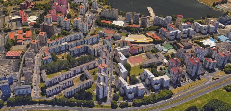 Vista aérea del barrio de Caranza, en Ferrol