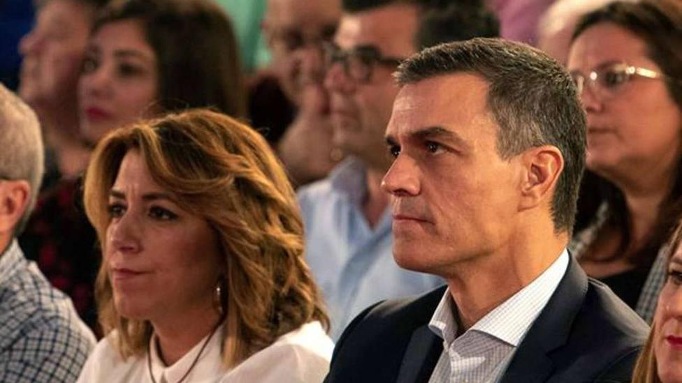 El presidente del Gobierno Pedro Sánchez junto a la líder de los socialistas andaluces Susana Díaz