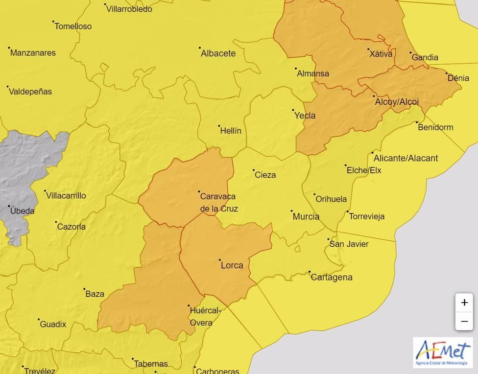 Mapa de avisos activo en la Región de Murcia