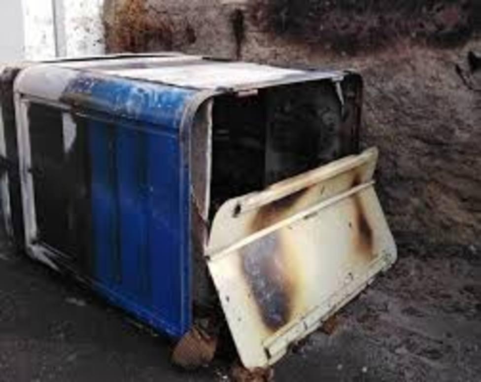 Un contenedor quemado