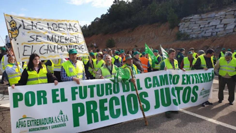 Manifestación de agricultores y ganaderos en Extremadura. APAG Extremadura ASAJA