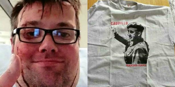 Agreden a un youtuber por llevar una camiseta con la cara de Franco en una manifestación