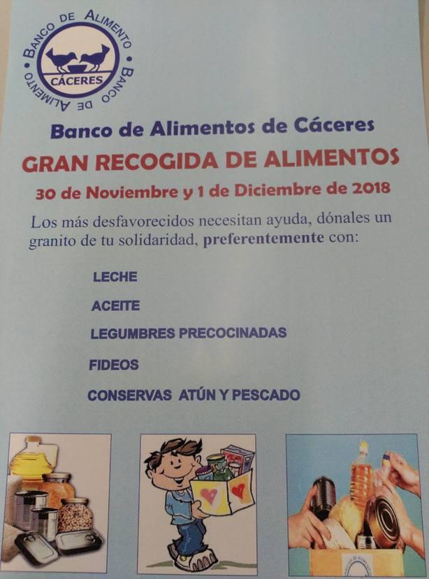 Lista de productos recomendados del Banco de Alimentos de Cáceres