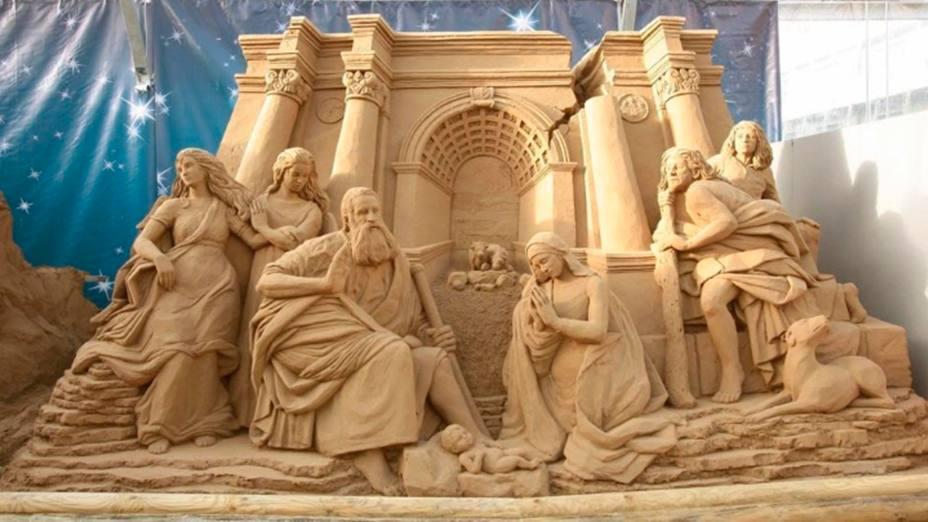 Una de las esculturas de arena tradicionales de la ciudad de Jesolo