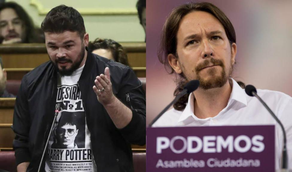 Rufián manda un recado a Pablo Iglesias por su apoyo al Gobierno de Sánchez