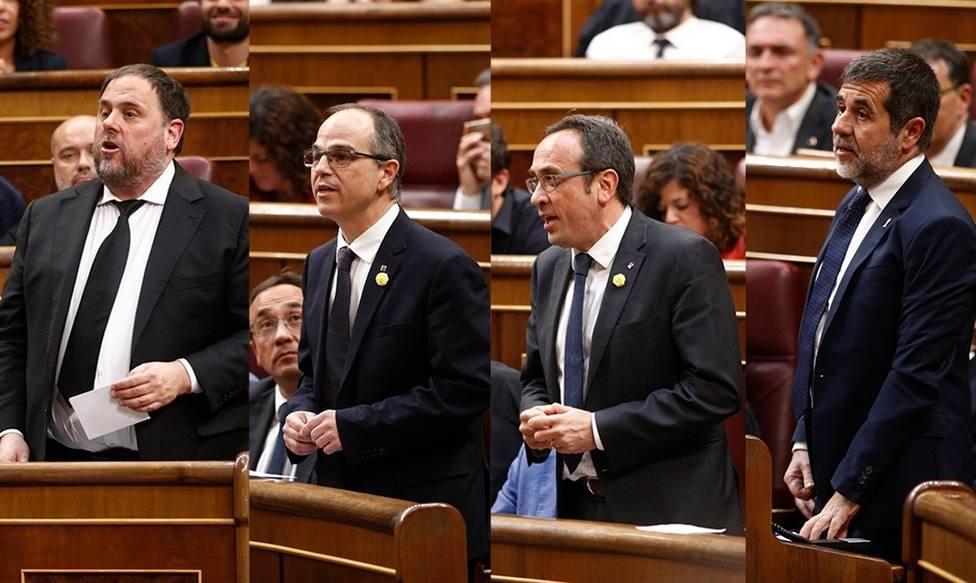 Junqueras, Jordi Turull, Josep Rull y Jordi Sanchez en su acatamiento a la Constitución en el Congreso