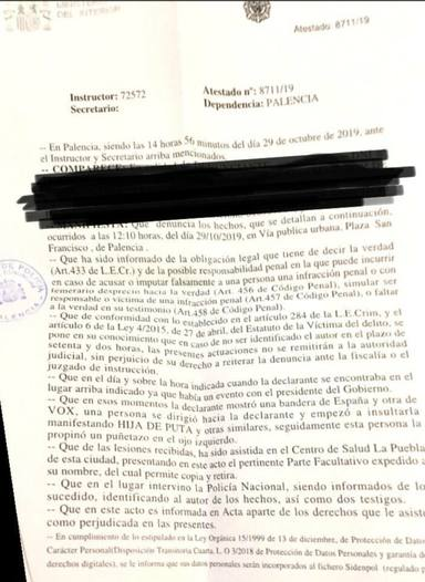 Una simpatizante de VOX en Palencia denuncia en comisaría una agresión en las cercanías del mitin de Sánchez