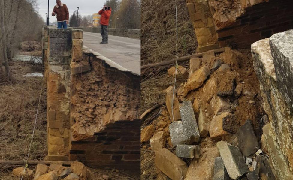 Se derrumba el petril del puente viejo de Saldaña