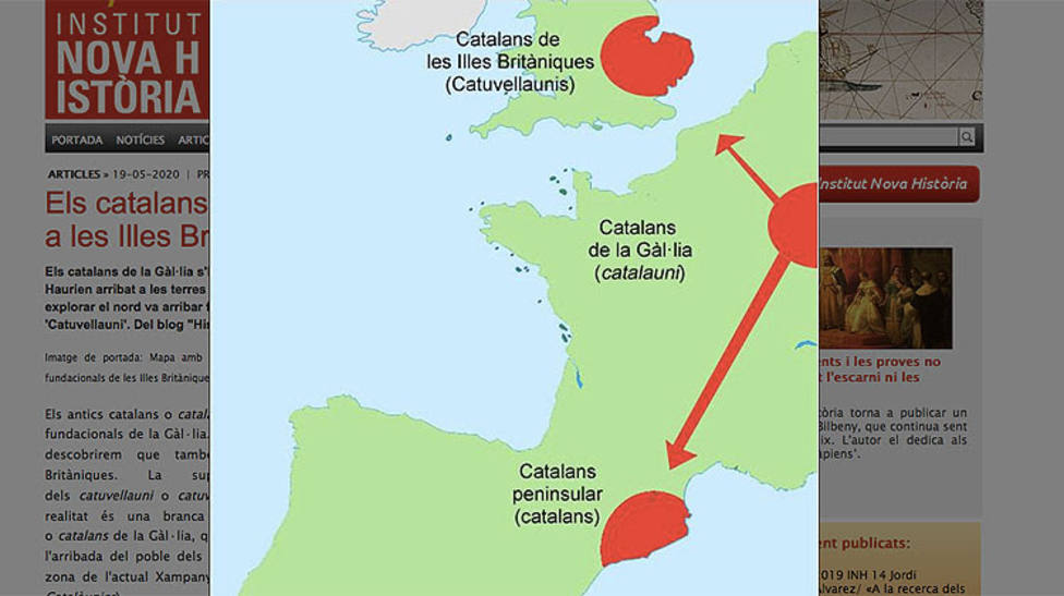 Mapa que muestra la expansión de los catalanes por Europa