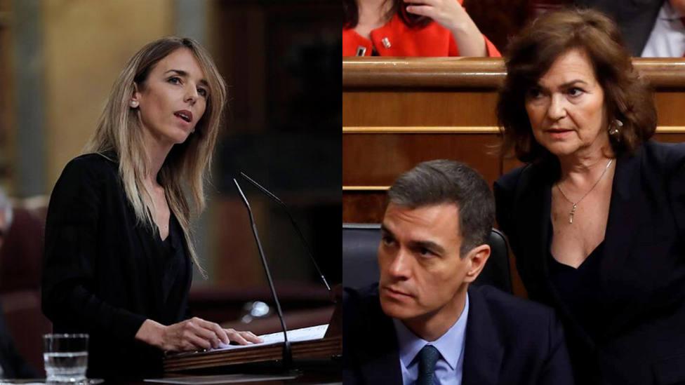 Cayetana Álvarez de Toledo, Pedro Sánchez y Carmen Calvo