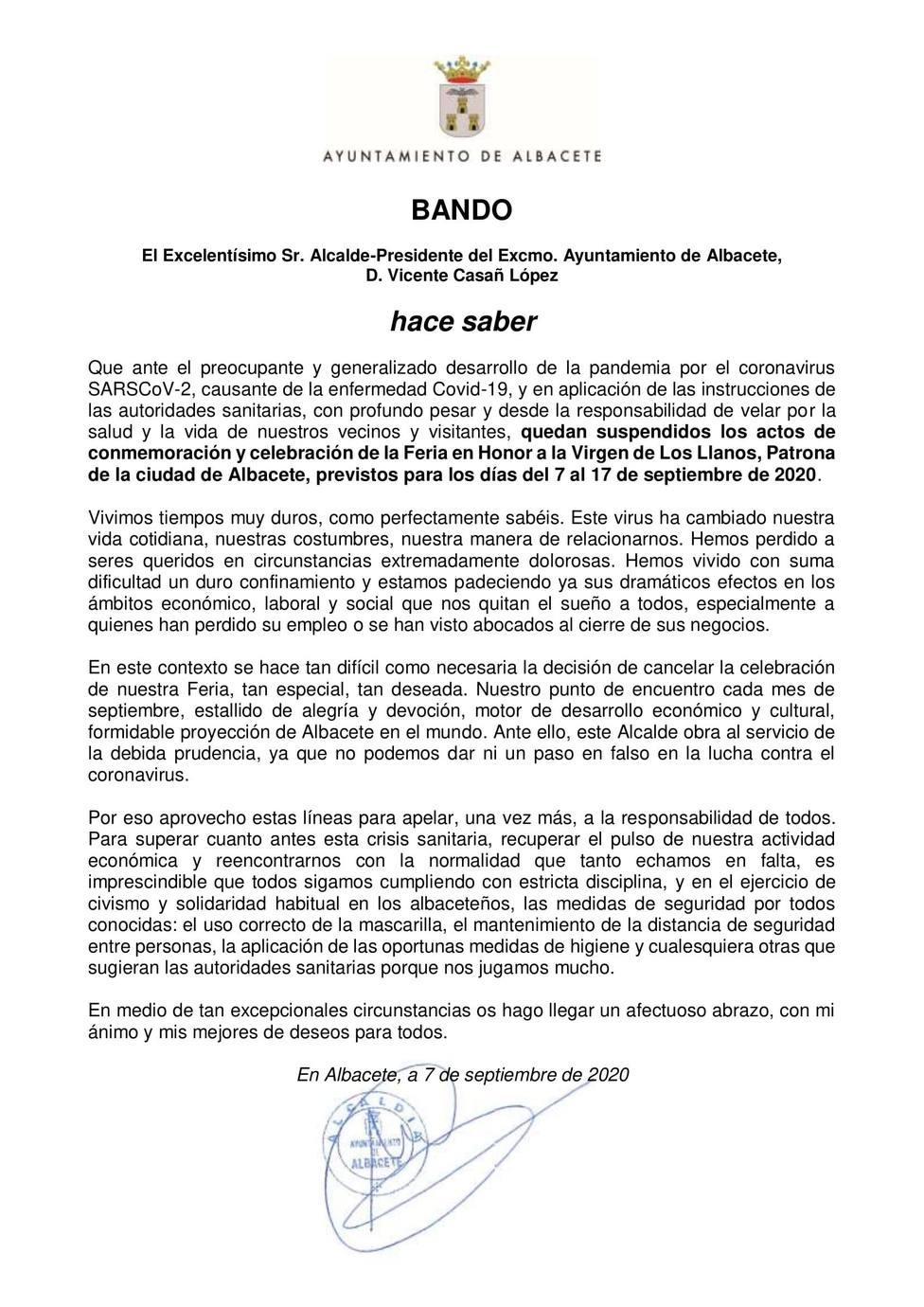 Bando de la suspensión de la Feria de Albacete 2020