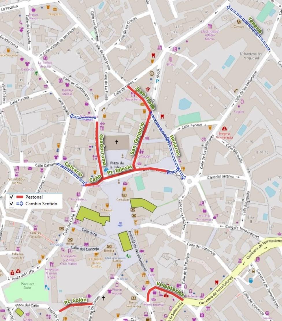 Mapa de la peatonalización