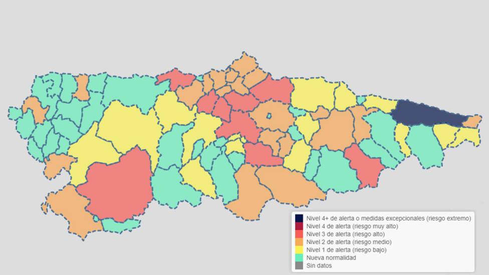 Mapa de Alertas en Asturias - 29/04/21