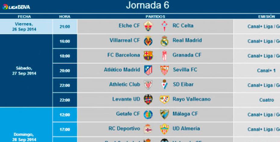 Calendario Lfp.La Lfp Anuncia Los Horarios De La Sexta Jornada De Liga Actualidad