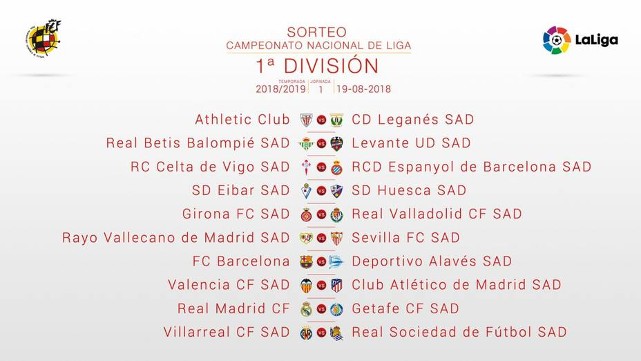 Calendario Completo.Calendario Completo De La Temporada 2018 2019 Laliga