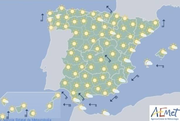 Las temperaturas serán hoy más altas de lo normal en una jornada con riesgo por viento y olas en Canarias y Cádiz