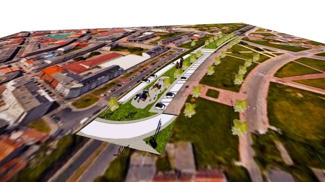 Recreación virtual del nuevo parque en la Trinchera - FOTO: PP de Ferrol