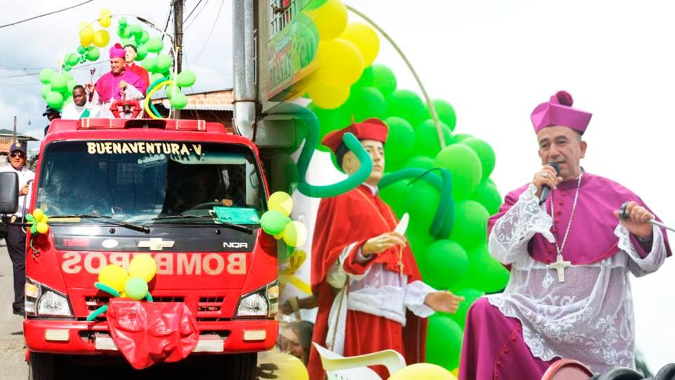 Mons. Jaramillo, junto a la imagen de San Buenaventura, en el camión | Diócesis de Buenaventura