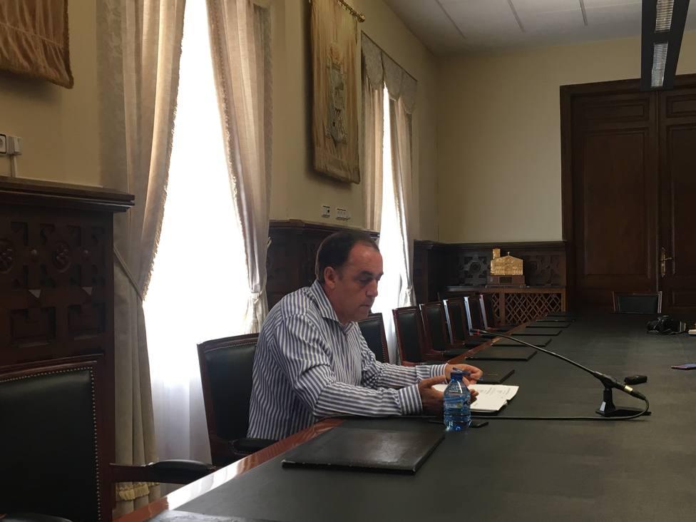 Benito Serrano, presidente de la Diputación de Soria, tras la junta de gobierno de hoy