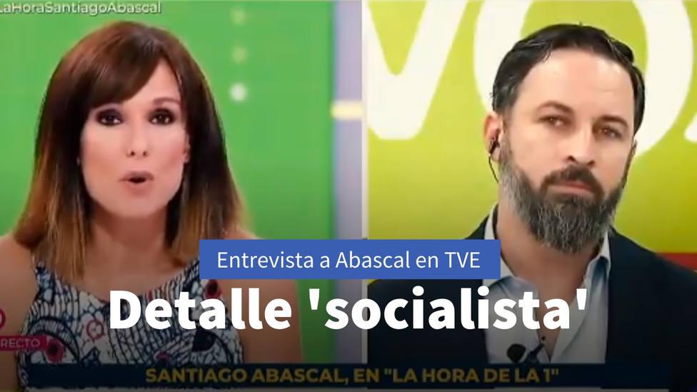 El detalle socialista que TVE coló en la entrevista a Abascal: Intentan engañar a la audiencia
