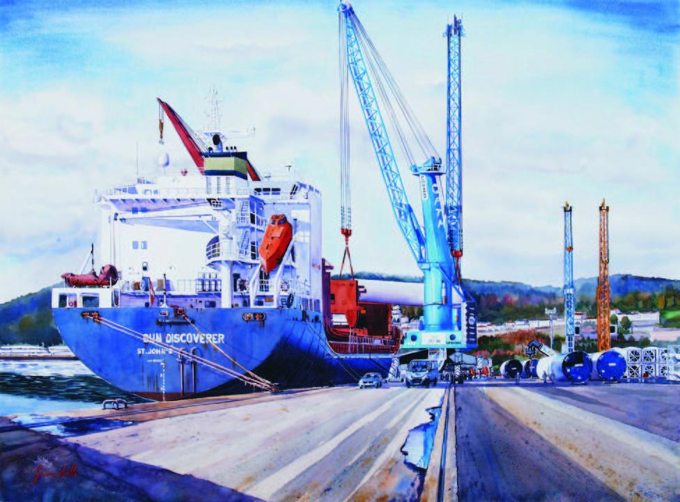 Acuarela de Manuel Gandullo que forma parte de la exposición - FOTO: Autoridad Portuaria de Ferrol-San Cibrao