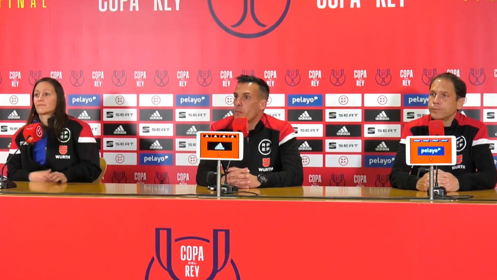 Porras Ayuso, Estrada Fernández y Alonso Fernández, en la rueda de prensa previa a la final de Copa del Rey