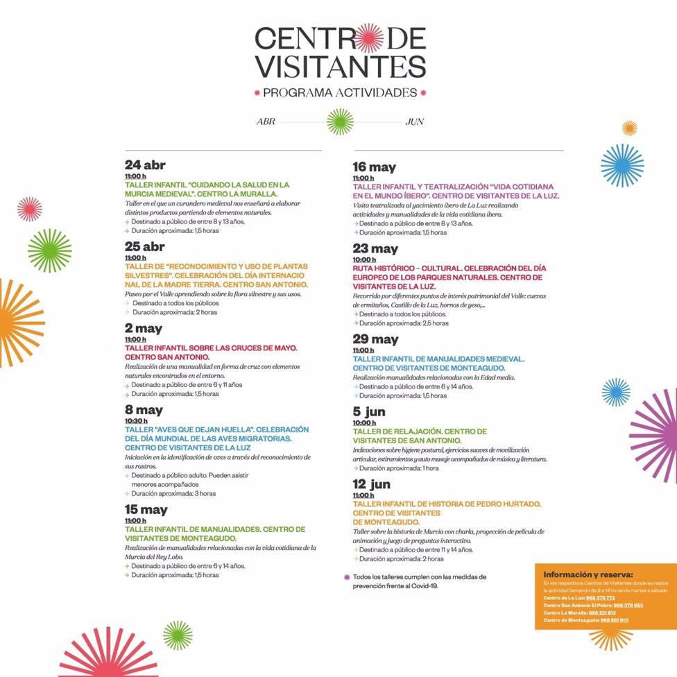 Los Centros de Visitantes de Murcia retoman su agenda de ocio con diez nuevas actividades