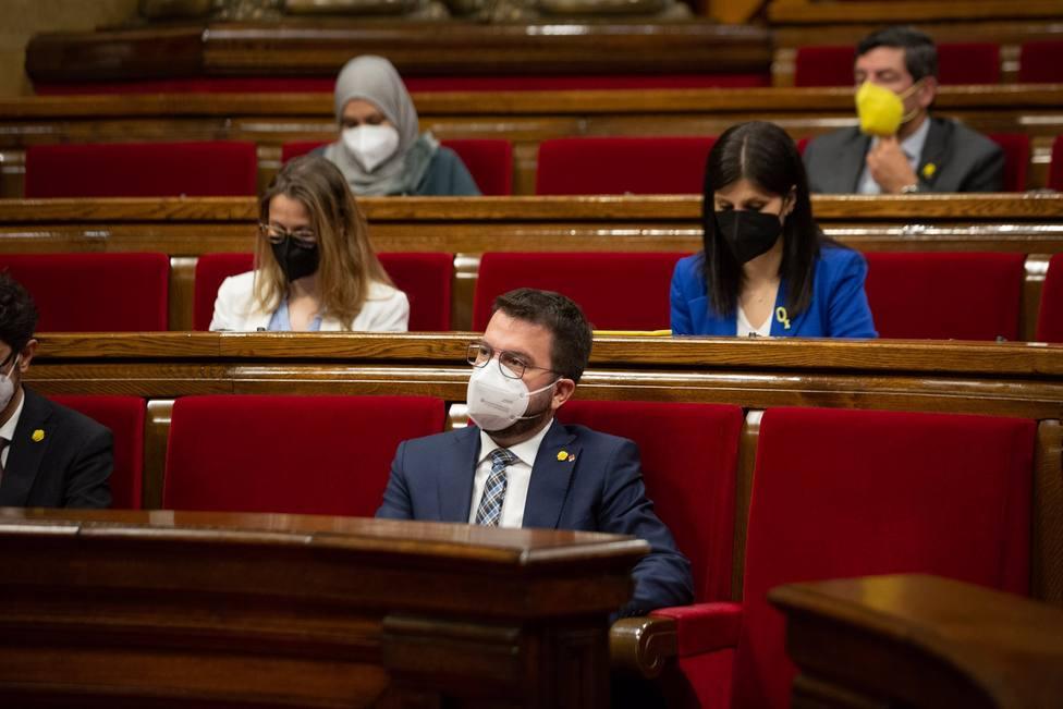 Pere Aragonès durante un acto en el Parlament de Catalunya - David Zorrakino - Europa Press