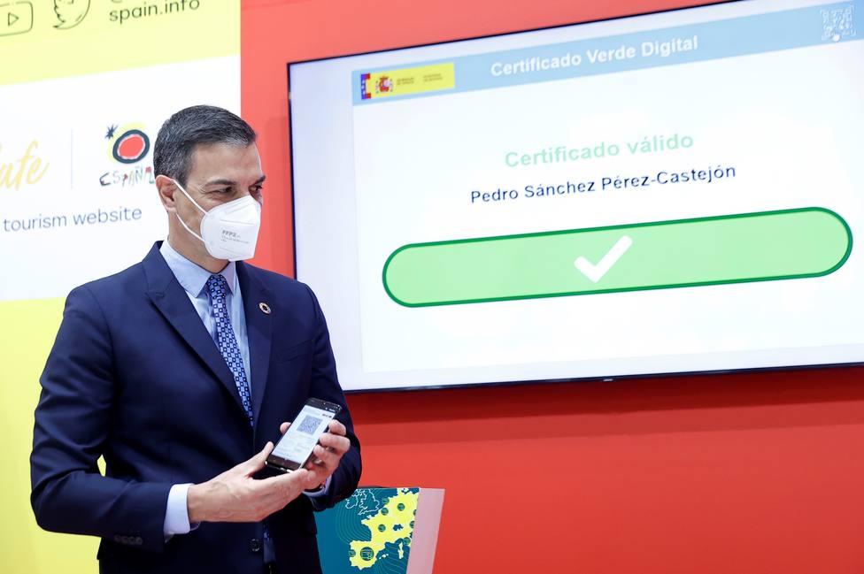 Pedro Sánchez presenta el Certificado Verde Digital en Fitur