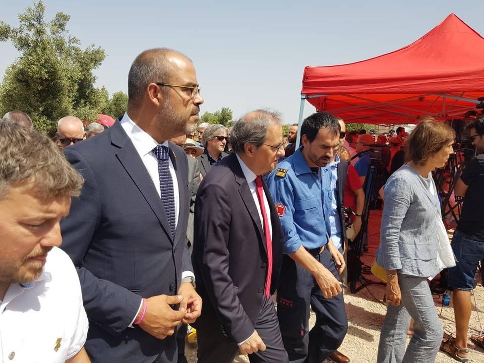 Acaba la reunión de Torra con Aragonès, Budó y Buch y el president se va después a una marcha de ANC y Omniun