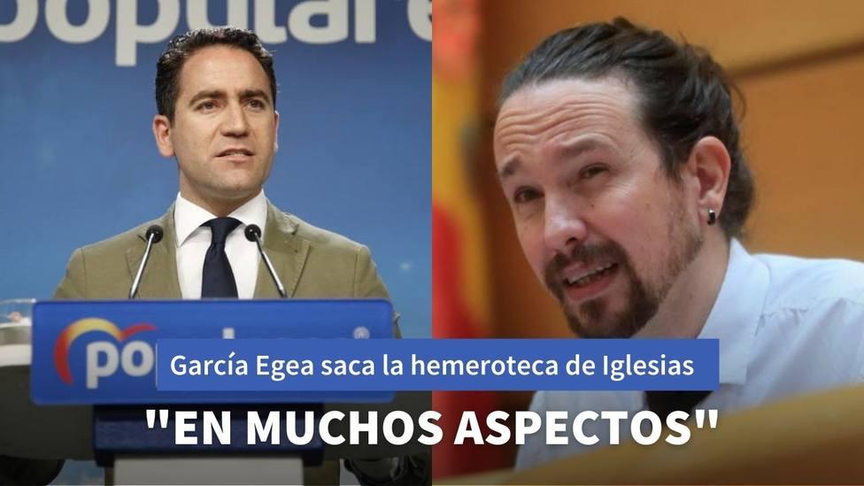 Teodoro García Egea le recuerda a Iglesias estas palabras que pronunciaba cuando imputaron a Rita Barberá