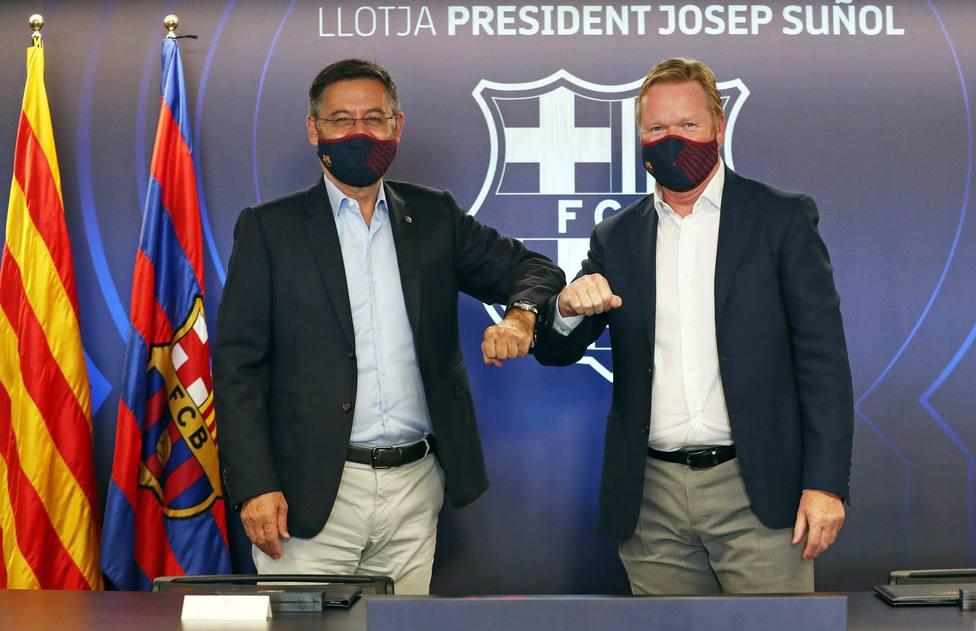 Ronald Koeman y Josep María Bartomeu