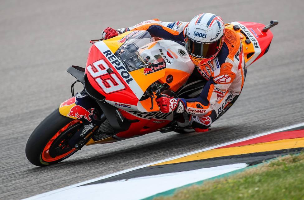 Der Spanier Marc Marquez (93) vom Repsol Honda Team faehrt im MotoGP Qalifying beim Liqui Moly Motorrad Grand Prix Deuts