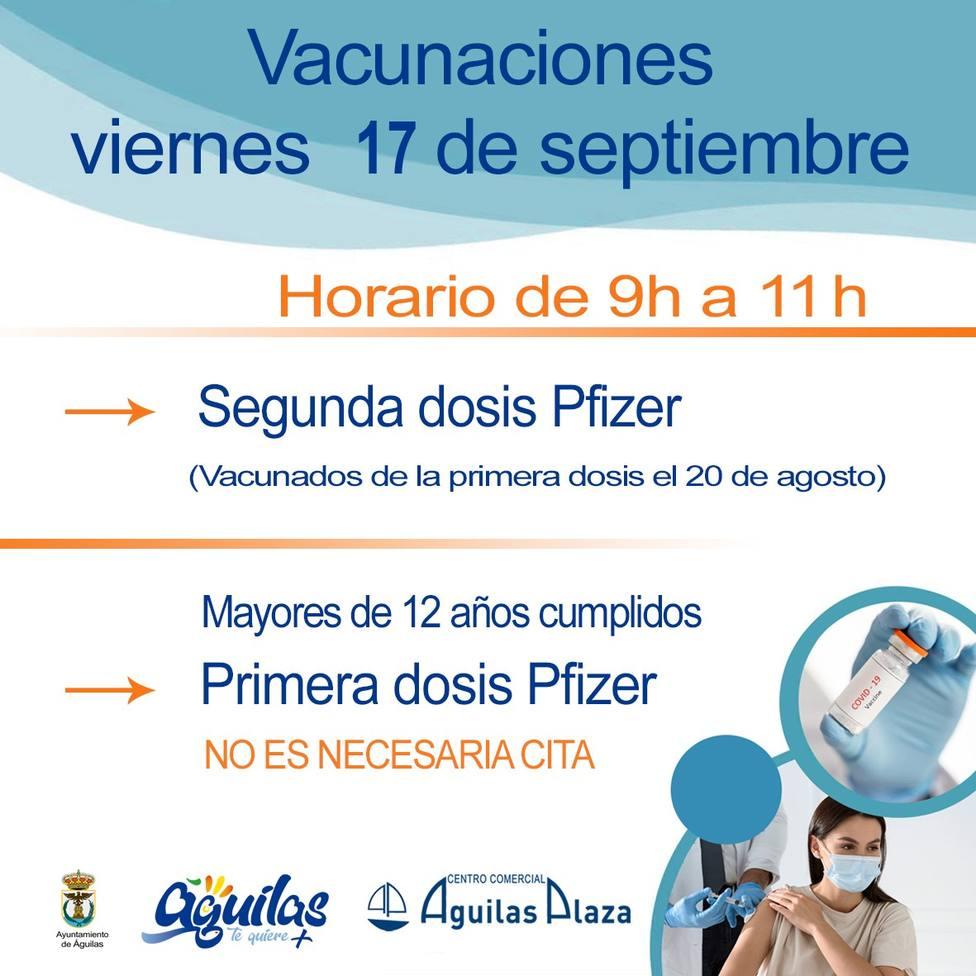 Centro Comercial Águilas Plaza acogerá el viernes una nueva jornada de vacunaciones masivas contra la COVID 19